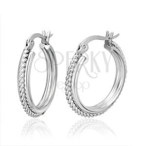 Ocelové náušnice - stříbrné kruhy s točeným lankem