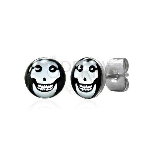 Ocelové náušnice, bílá lebka v černém kruhu, glazura
