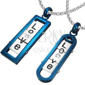 """Přívěsky pro dvojici - hranatá a oválná známka s nápisem """"LOVE"""", modré"""