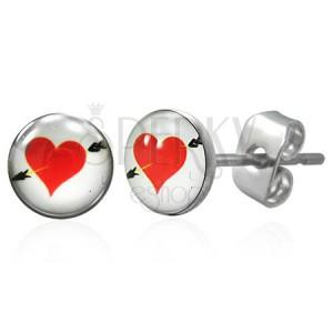 Náušnice z chirurgické oceli, červené srdce se šípem