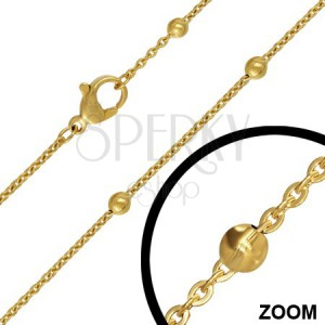 Ocelový řetízek s malými očky a kuličkami, zlatý, 3 mm