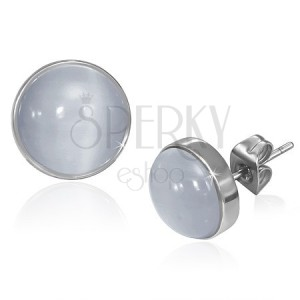 Puzetové náušnice z oceli - sivo-bílý kamen kočičí oko