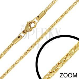 Ocelový řetízek - zlatý dutý had, propojené články, 2 mm
