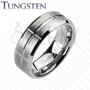 Wolframový prsten - broušený, se zářezy