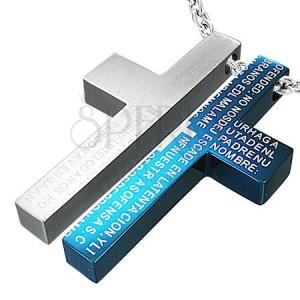 Ocelový dvojpřívěsek - modlitba na kříži