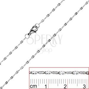 Ocelový řetízek - zploštělá očka se zářezy X