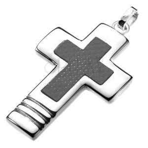 Ocelový přívěsek - široký kříž s karbonovým křížem uvnitř