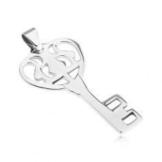 Přívěsek z oceli - lesklý zdobený klíč od srdce Y20.13