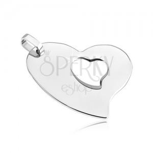Ocelový přívěsek - asymetrické srdce se srdíčkovým výřezem