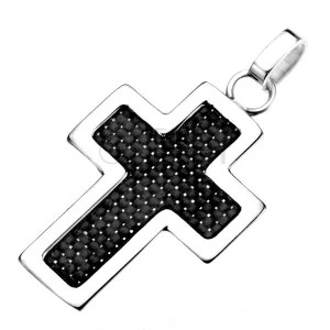Ocelový přívěsek - stříbrný obrys kříže s černou strukturou