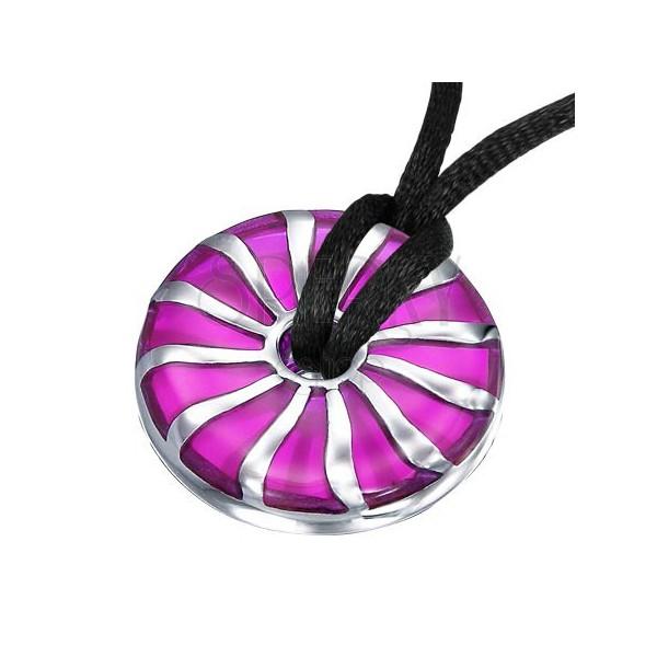 Přívěsek z oceli spirálovitý fialový kruh se středovou dírkou