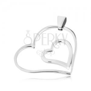 Ocelový přívěsek - dvojité spojené srdce