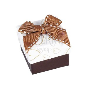 Krabička so zlatými srdiečkami na šperk, hnedá mašľa