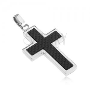 Ocelový kříž - ozdoba s karbonovým designem