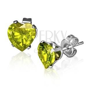 Puzetové náušnice z oceli - žlutá zirkonová srdce, Srpen