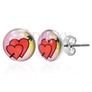 Náušnice z oceli - zamilovaná srdce se šípem lásky