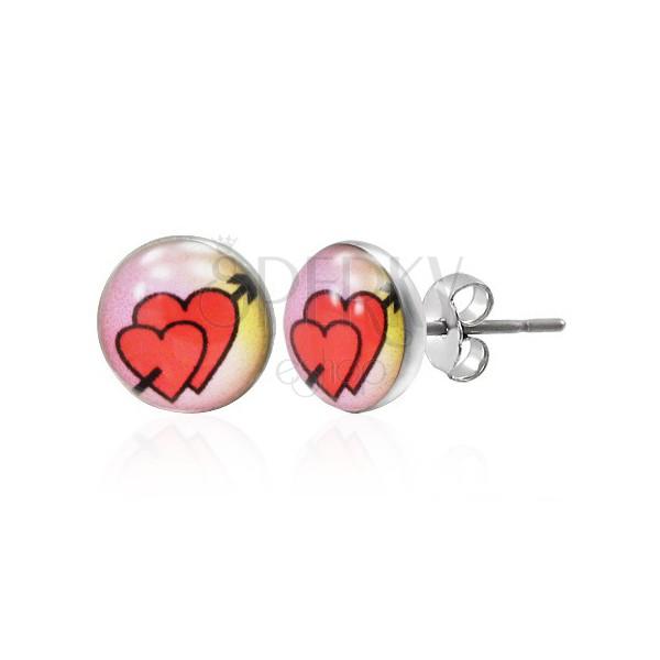 Puzetové náušnice z oceli 316L - zamilovaná srdce se šípem