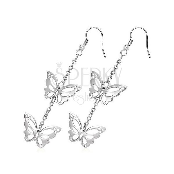 Náušnice z chirurgické oceli - vyřezávaní motýli na řetízku, háčky