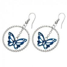 Ocelové náušnice stříbrné barvy, modrý motýl v kruhu, háčky