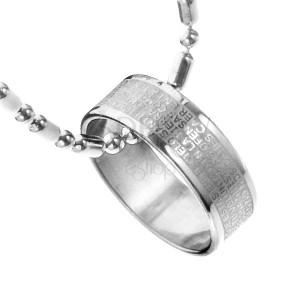 Ocelový náhrdelník - prsten s modlitbou Pána, řetízek