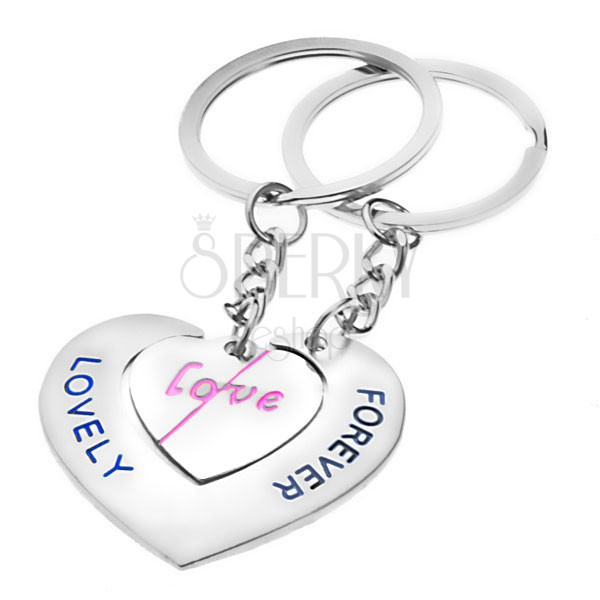 Přívěsky na klíče pro zamilované - srdce s nápisy LOVE a LOVELY FOREVER