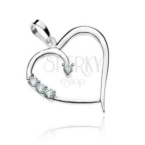 Přívěsek ze stříbra - linie srdce a zirkony