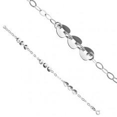 Stříbrný náramek - tři srdce a oválná očka