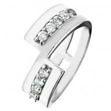 Prsten ze stříbra 925 – přerušená linie, třpytivé zirkony