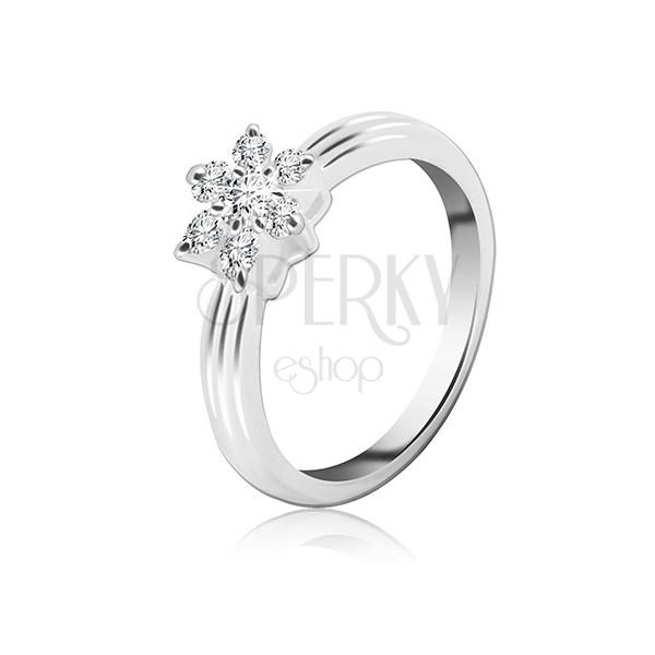Stříbrný prsten - zirkonový květ, vystouplý pásek po obvodu