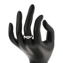 Snubní prsten ze stříbra - kulatý zirkon v proplétaných pásech