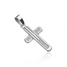 Křížek ze stříbra 925 - lesklý lem po obvodu, strukturovaný střed Z6.19