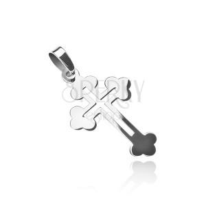 Přívěsek ze stříbra 925 - liliový kříž s výřezem