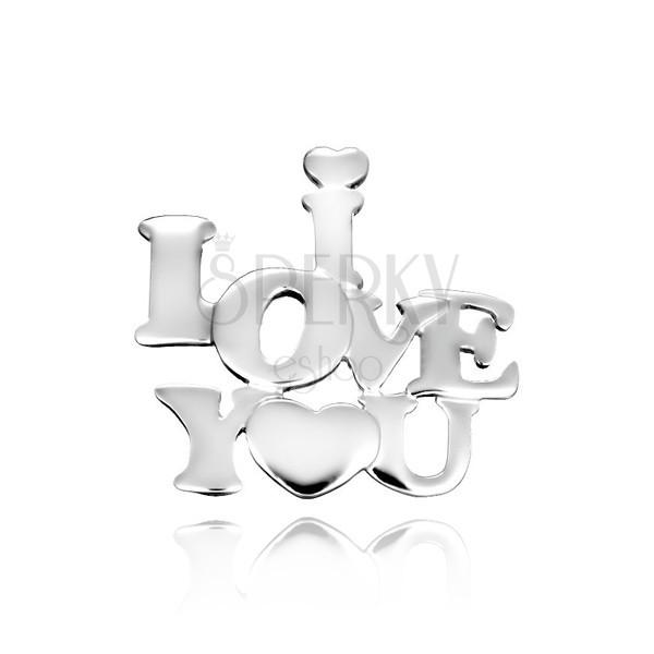 Přívěsek ze stříbra 925 - nápis zamilovaných se srdíčkem
