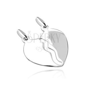 Přívěsek ze stříbra 925 - hladké zrcadlově lesklé zlomené srdce