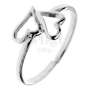 Prsten ze stříbra 925 - dvě asymetrická srdíčka, nastavitelná velikost