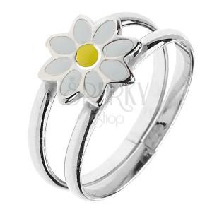 Stříbrný prsten 925 - zdvojené kruhy s kopretinkou, nastavitelný