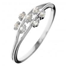 Prsten ze stříbra 925 - drobné zirkonové kvítky na stoncích