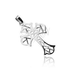 Stříbrný přívěsek 925, kříž s geometrickými výřezy