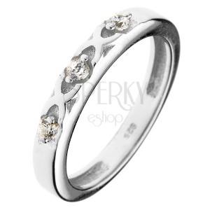 Prsten ze stříbra 925 - překřížené pásky, tři zirkony