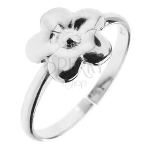 Prsten ze stříbra 925 - kvítek s gravírováním, nastavitelný