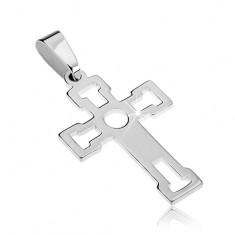 Přívěsek ze stříbra 925 - lesklý kříž s výseky ve tvaru T C21.19
