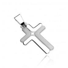 Stříbrný přívěsek, kříž 925 - dvojité matné a lesklé L