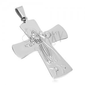 Přívěsek z chirurgické oceli, Ježíš na kříži, stříbrná barva