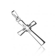 Stříbrný přívěsek 925 - lesklý kříž, gravírované paprsky Y22.18
