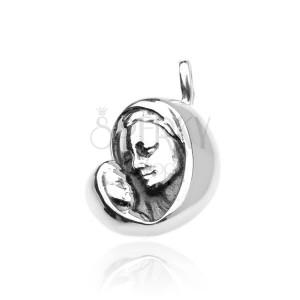Stříbrný přívěsek 925 - Panna Marie s děťátkem, jemně patinovaný