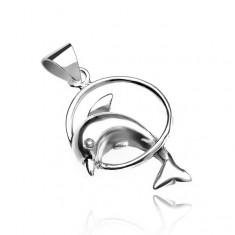 Přívěsek ze stříbra 925 - delfín skákající skrz kruh V15.8