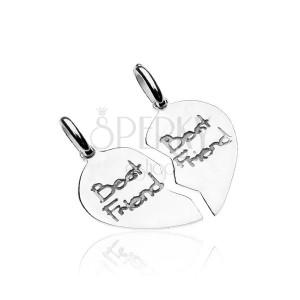 Stříbrný přívěsek 925 pro dvojici - rozpůlená srdce Best friend