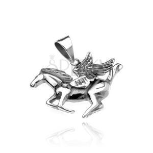 Stříbrný přívěsek 925 - okřídlený kůň Pegas, jemně patinovaný