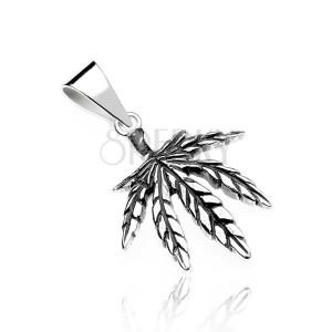 Stříbrný přívěsek - marihuanový list