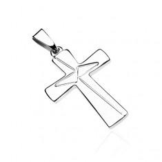 Přívěsek ze stříbra 925 - latinský kříž, gravírované trojúhelníky U2.13